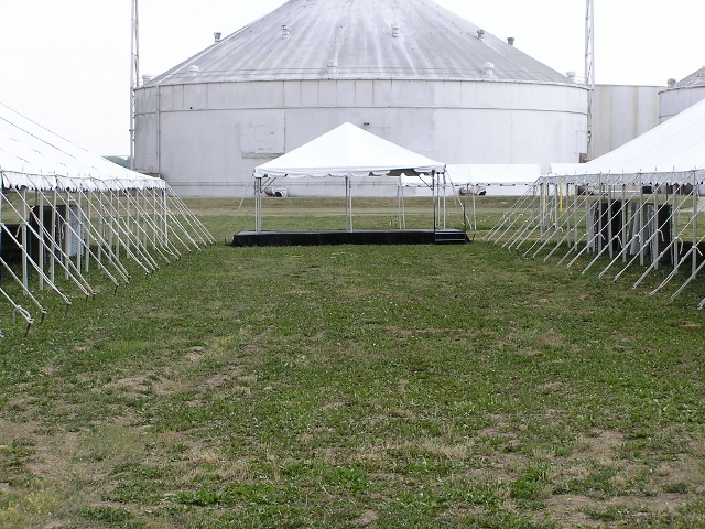 Frame tent on stage