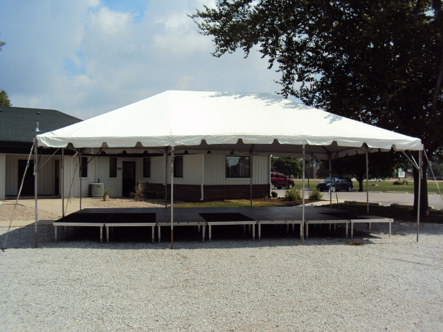 Frame tent over stage
