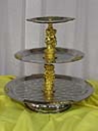 Where to rent TRAY, 3-TIERED SILVER W GOLD TRIM, 20 in Kokomo IN